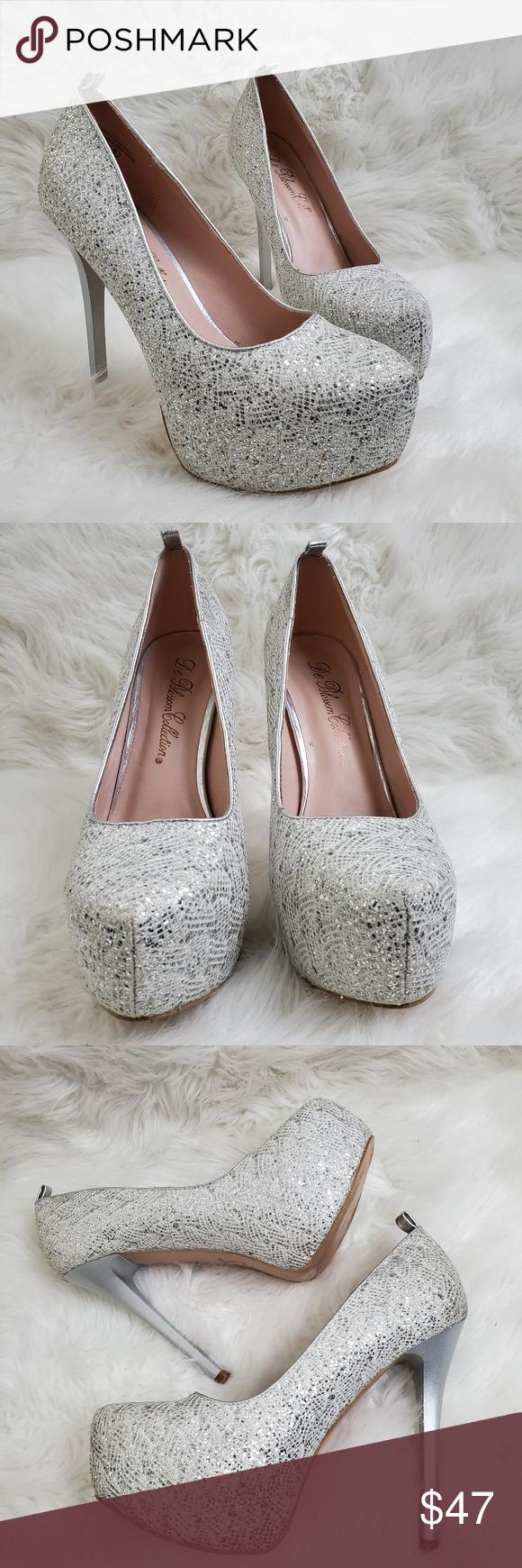 Sparkly silver glitter heels Eye catching glittery heels  Silver Beautiful heel …