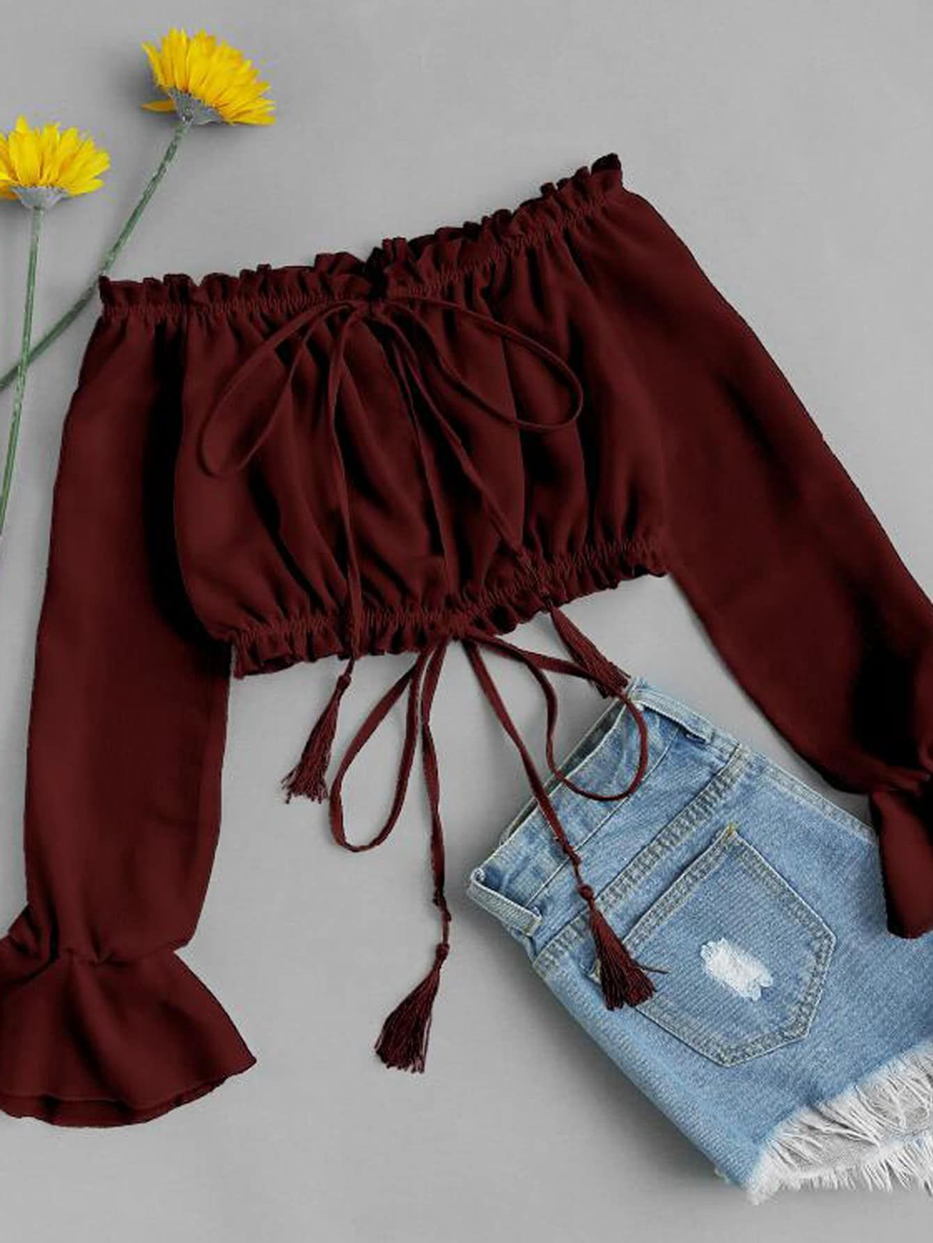 Split Front Frill Trim Drawstring Crop Top