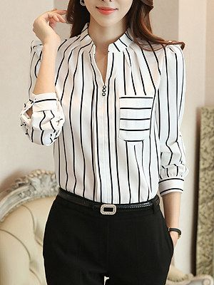 Split Neck  Patch Pocket  Striped Blouse