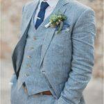 Spring Summer Light Blue Linen Men Suits Wedding Groom Tuxedos 2 Buttons Groomsmen Suit Jacket+Vest+Pants Beach Wedding Suit Mens White Dinner Jacket Mens White Suits From Fengyangg, $101.51| DHgate.Com
