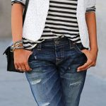 Spring or fall - street & chic style  - boyfriend jeans + navy stripped top + wh...