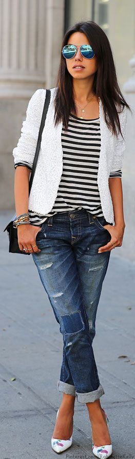 Spring or fall – street & chic style  – boyfriend jeans + navy stripped top + wh…