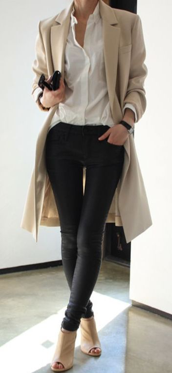 Stand out among other stylish civilians in a tan coat and black leather slim jea…