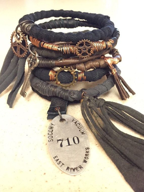 Steampunk Gypsy Bangle Stack! Post Apocalyptic Wire Wrap Bracelets with Vintage Charms …