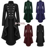 Steampunk Womens Military Coat Vintage Gothic Victorian Tailcoat Autumn Winter Ladies Army Uniform Jacket Medieval Long Sleeve Lapel Long Trench Coat Jacket Blazer Suits Women Fashion Halloween Cosplay Outwear