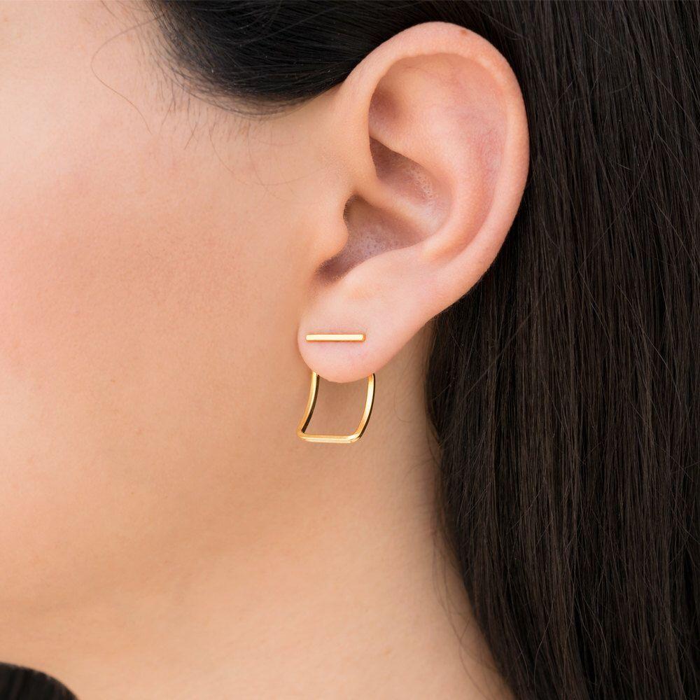 Sterling silver earring jackets silver ear jacket earrings bar stud front back minimalist earrings front back earrings holiday gift
