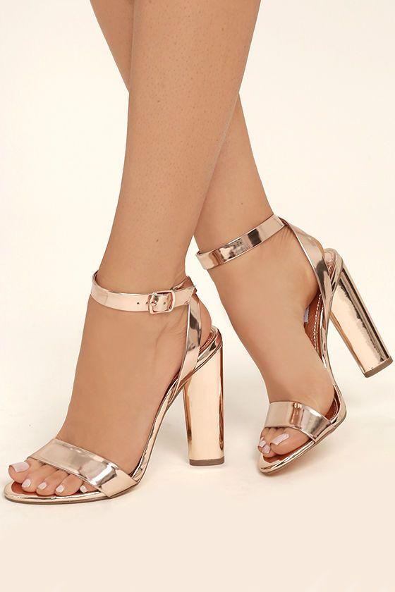 Steve Madden Treasure Rose Gold Leather Ankle Strap Heels