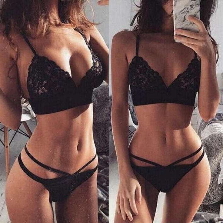 Strappy Black Lace Bikini – Women's sexy lingerie swimsuit in black – Girl&#… …