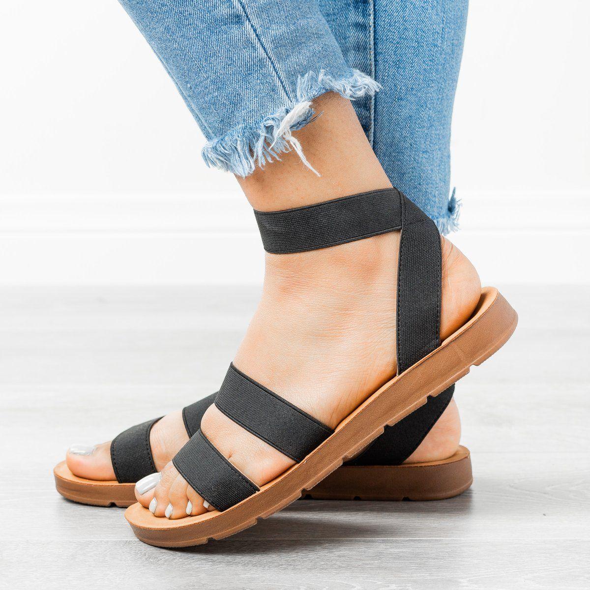 Strappy Elastic Sandals