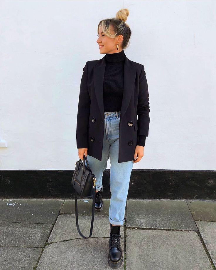 Street Style Navy Blazer Black Top Light Wash Denim Outfit Inspo Doc martens Cel…