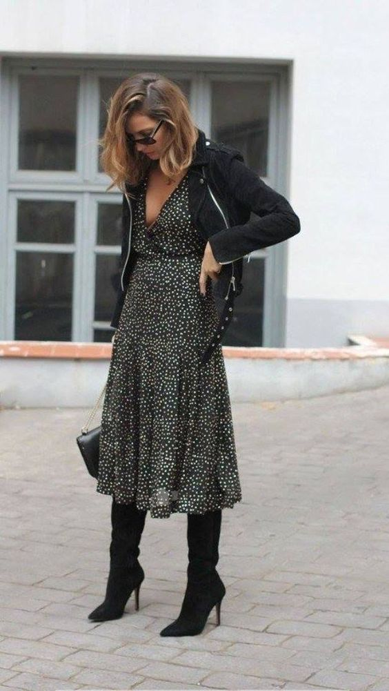 Street style | Polka dots dress, knee boots and black jacket