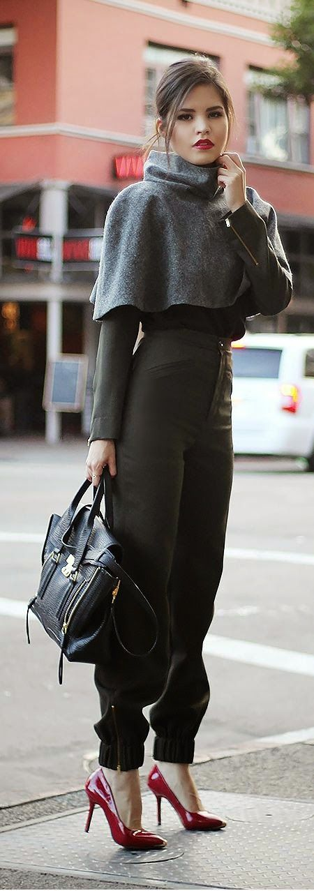 Street style cape blouse trousers