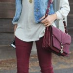 Street style denim jacket and burgundy pants