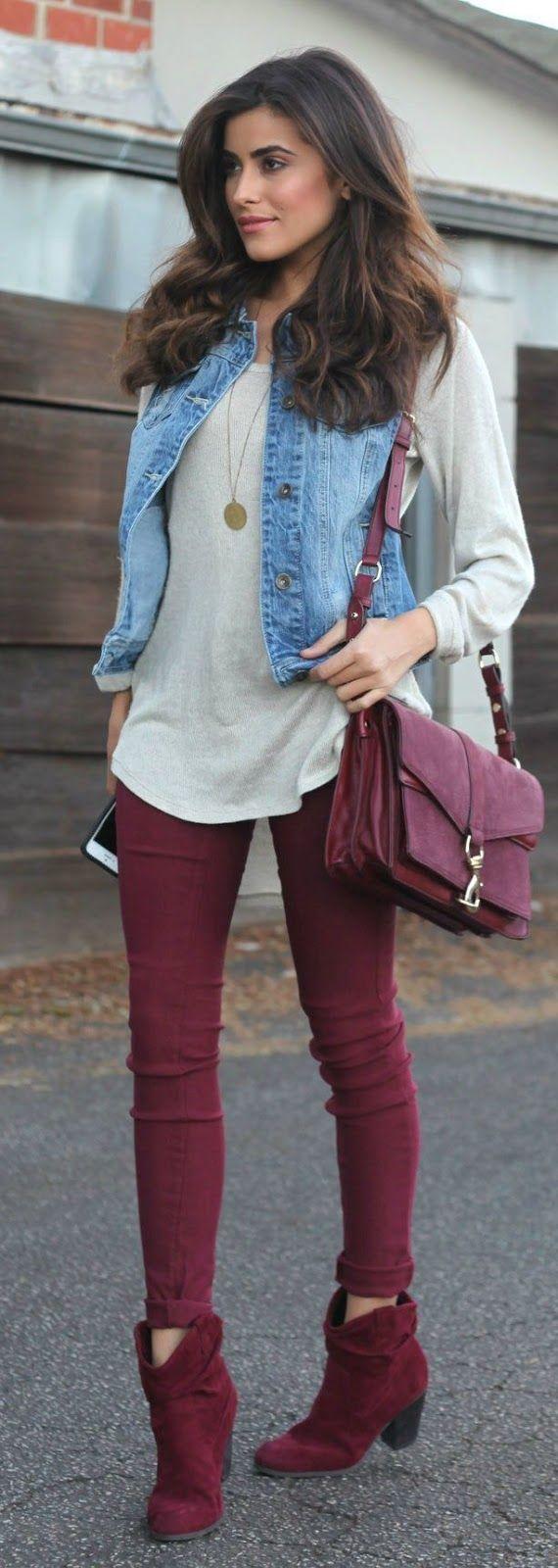 Street style denim jacket and burgundy pants