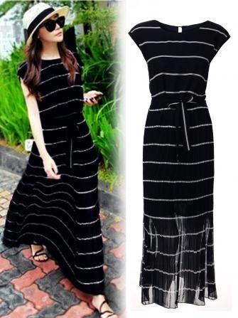 Stripe Short Sleeve Bohemian Dress For Women Women Blue Striped Chiffon Casual M…