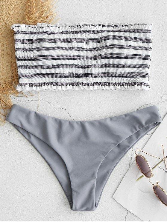 Stripe Smocked Bandeau Bikini Set BRIGHT YELLOW COBALT BLUE DARK CARNATION PINK GRAY CLOUD MEDIUM SEA GREEN