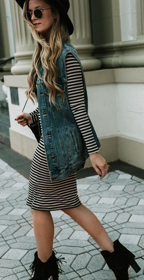 Striped Dress and Denim Vest Outfit