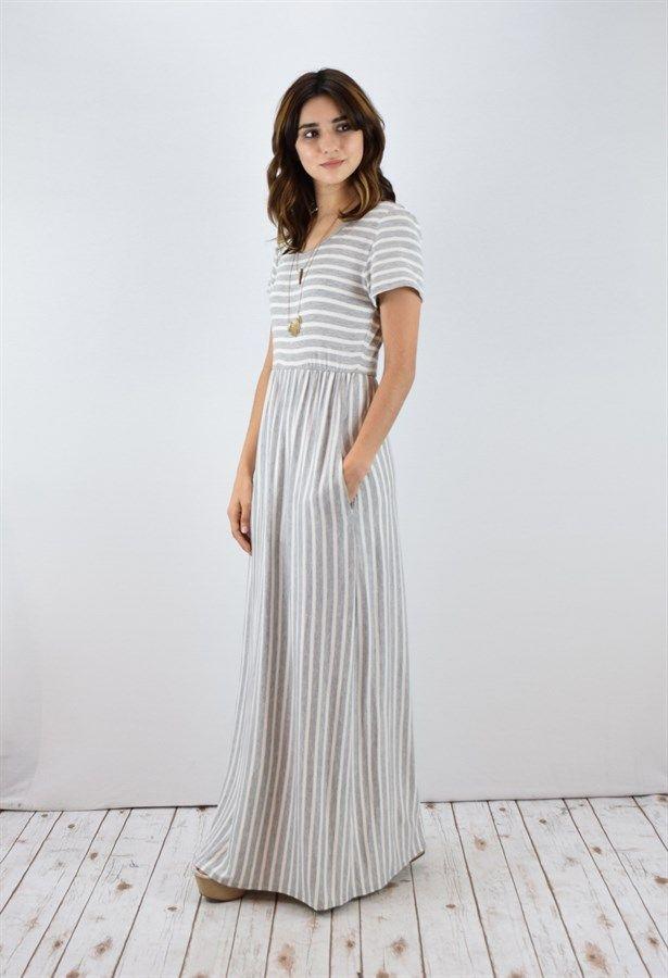 Striped Short Sleeve Maxi Dress | S-XL