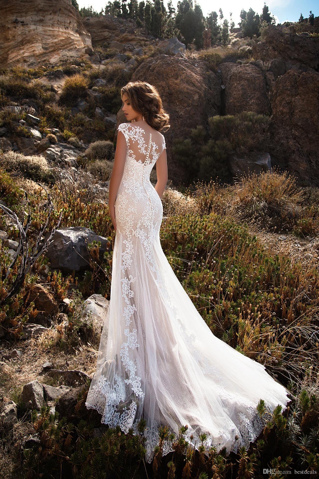 Stunning Sheer Neck Appliqued Lace Wedding Dresses 2017 Mermaid Court Train Boho Bridal Gowns Vestidos De Noiva Discount Wedding Gowns Lace Bridal Dresses From Bestdeals, $169.43| DHgate.Com