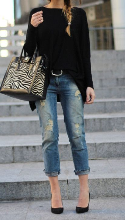 Style Spacez: 18 Cheap DIstressed and Ripped Boyfriend Jeans Outfit Ideas for Fall