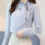 Stylewe Long Sleeve Pink Blue Women Blouses For Work Sweet Polyester Tie-Neck Da...