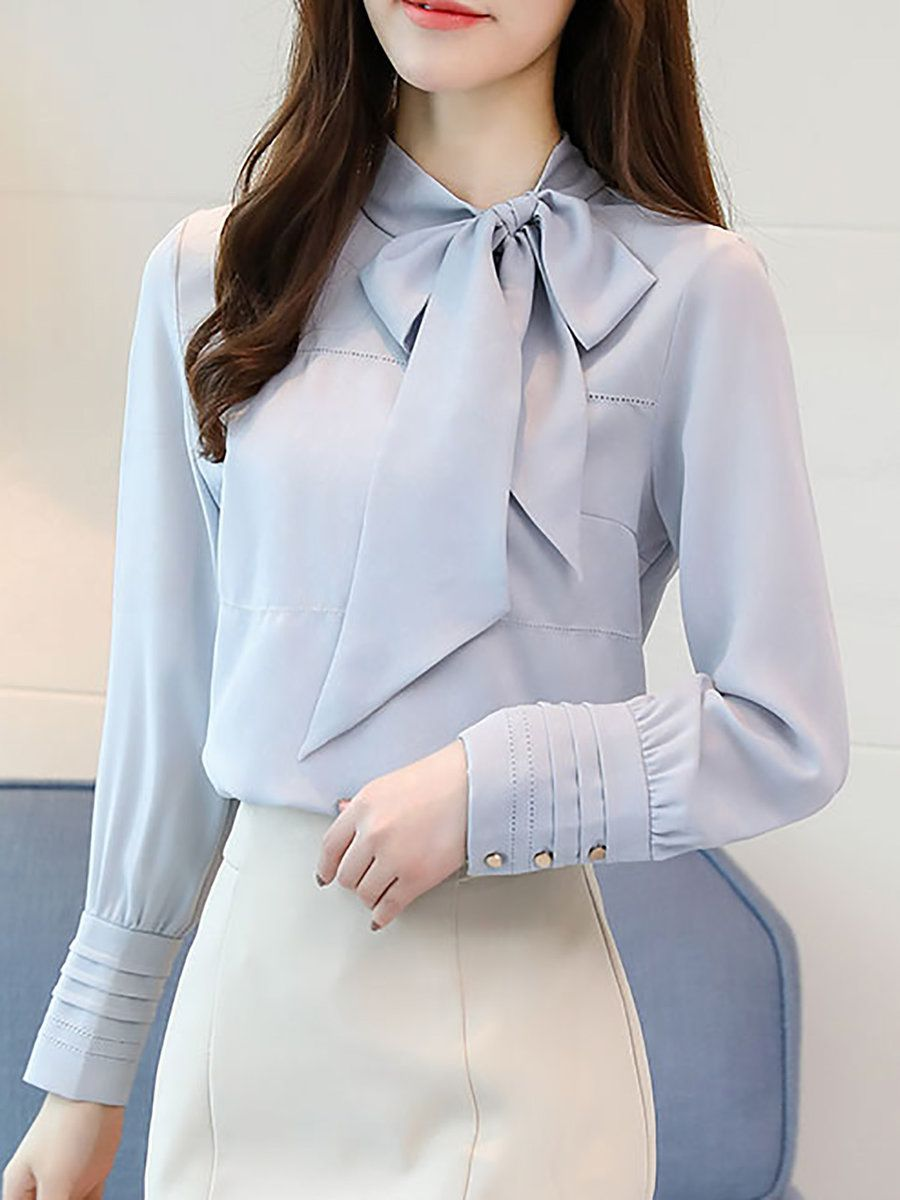 Stylewe Long Sleeve Pink Blue Women Blouses For Work Sweet Polyester Tie-Neck Da…