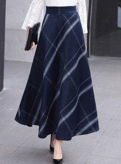 Stylish High Waist Plaid A Line Skirt