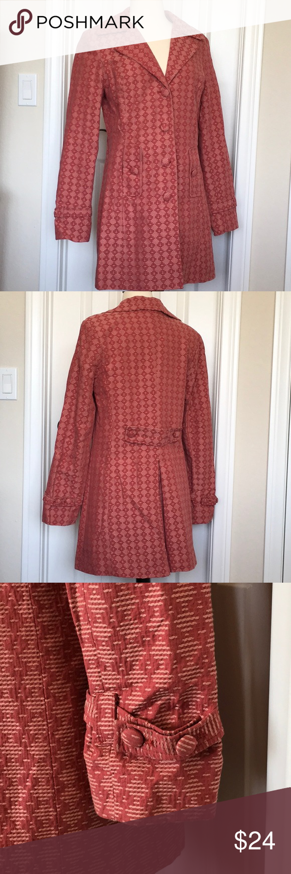 Stylish Trench coat pattern orange brick red rust Super stylish trench coat. Col…
