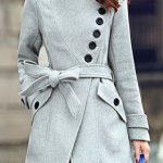 Stylish Turn-Down Collar Long Sleeve Zip Up Spliced Women's Belted Coat