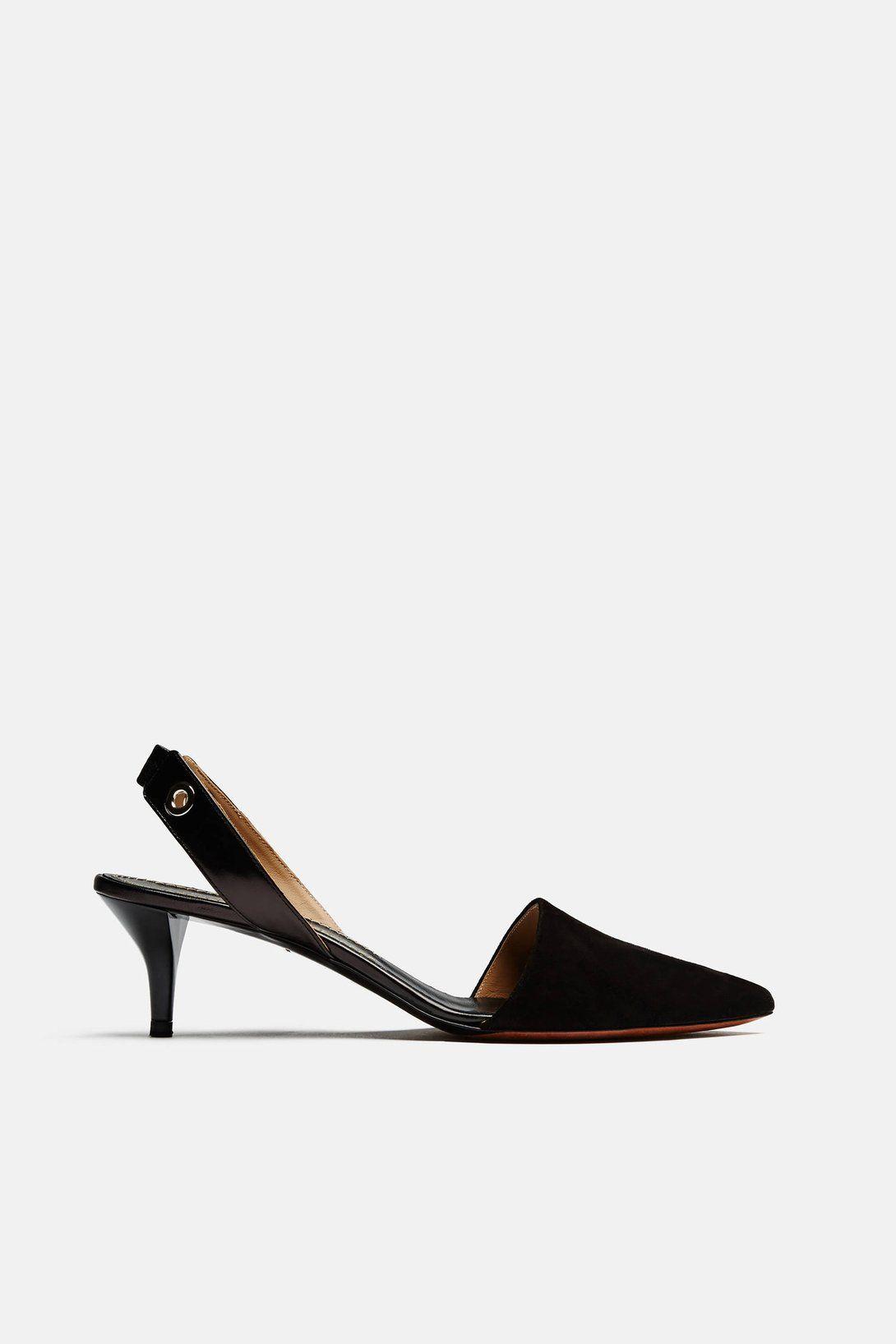 Suede Sling Back Kitten Heel – Black