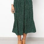 Summer Casual Chiffon Print Pockets High Waist Pleated Maxi Skirt Long Skirts Color Black Size S