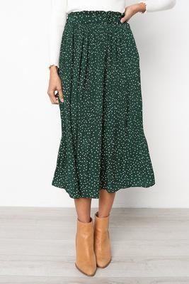 Summer Casual Chiffon Print Pockets High Waist Pleated Maxi Skirt Long Skirts Color Black Size S