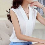 Summer Chiffon Shirt Female Sleeveless V Collar Size Thin All-match Loose Backing Womens Shirt