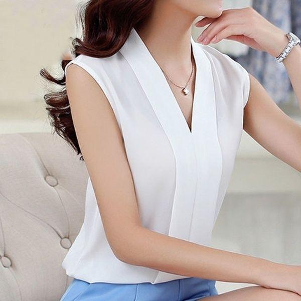 Summer Chiffon Shirt Female Sleeveless V Collar Size Thin All-match Loose Backing Womens Shirt