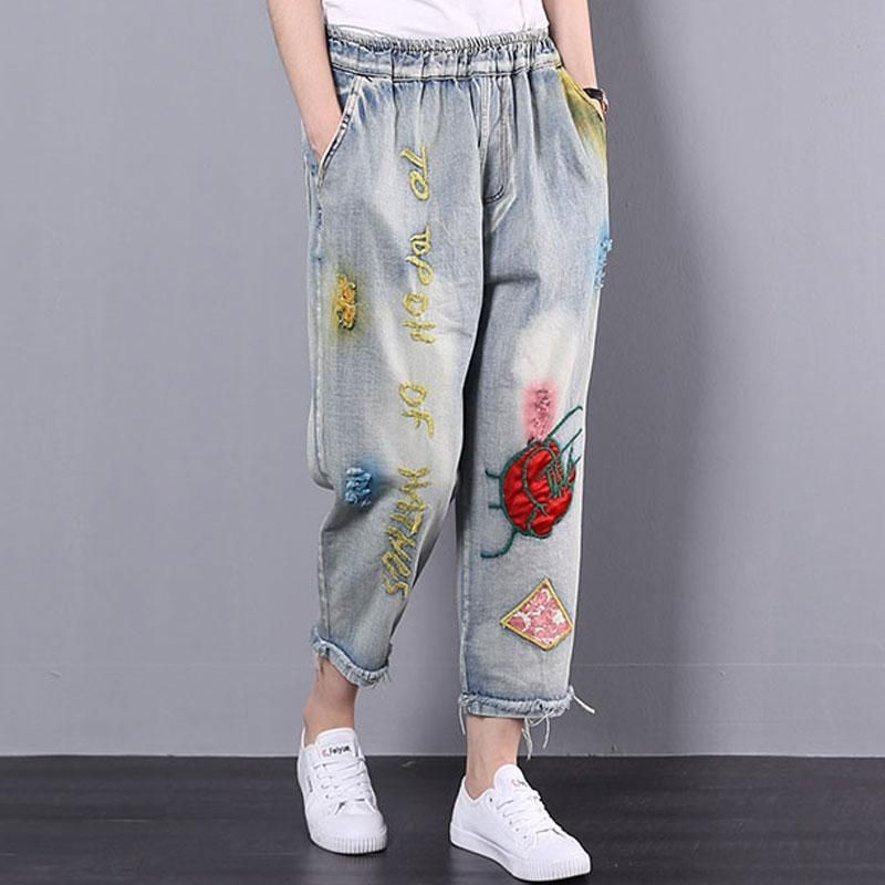 Summer Denim Pockets Embroidery Casual Long Pants