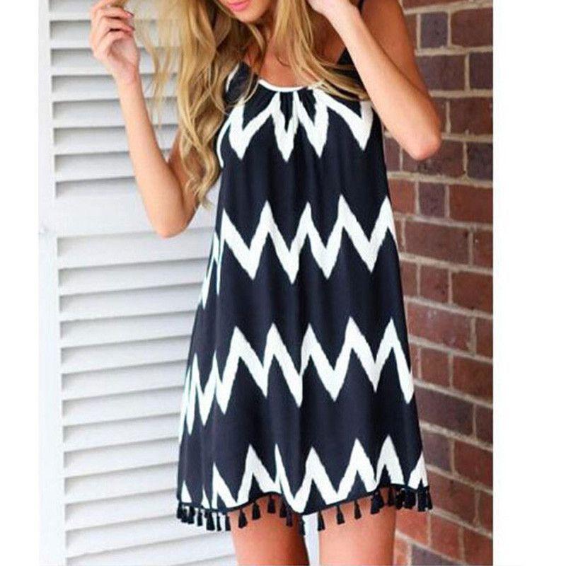 Summer Fashion Women Loose Chiffon Sundress Wave Striped Sleeveless Tassel Casual Beach Dress Vestido