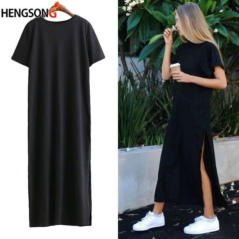 Summer Long T shirt Women Black T-shirt Sexy Side Slit Short Sleeve Big Size Thin Long Women Tops Tees Female tshirt DP805698