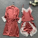 Summer Women Robe Set Silk Rayon Bath Robes Dress Kimono Gowns Sexy Lace Sleepwear 3PCS Sleep Suit Home Clothing M-XXL S0110