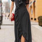 Summer long dress casual wear for women Polka dot sundress girls Below the knee dress short sleeve A