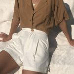 Summervibes | Summer outfit | Camel | White | White shorts | High waisted shorts...