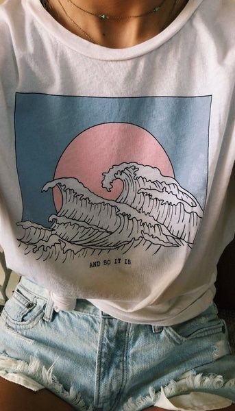 Sunset At Sea – Waves Ocean Beach Hillbilly Casual New Listing Woman's Clothes Printed White T-shirt Woman's O-Neck Soft Good Fabric