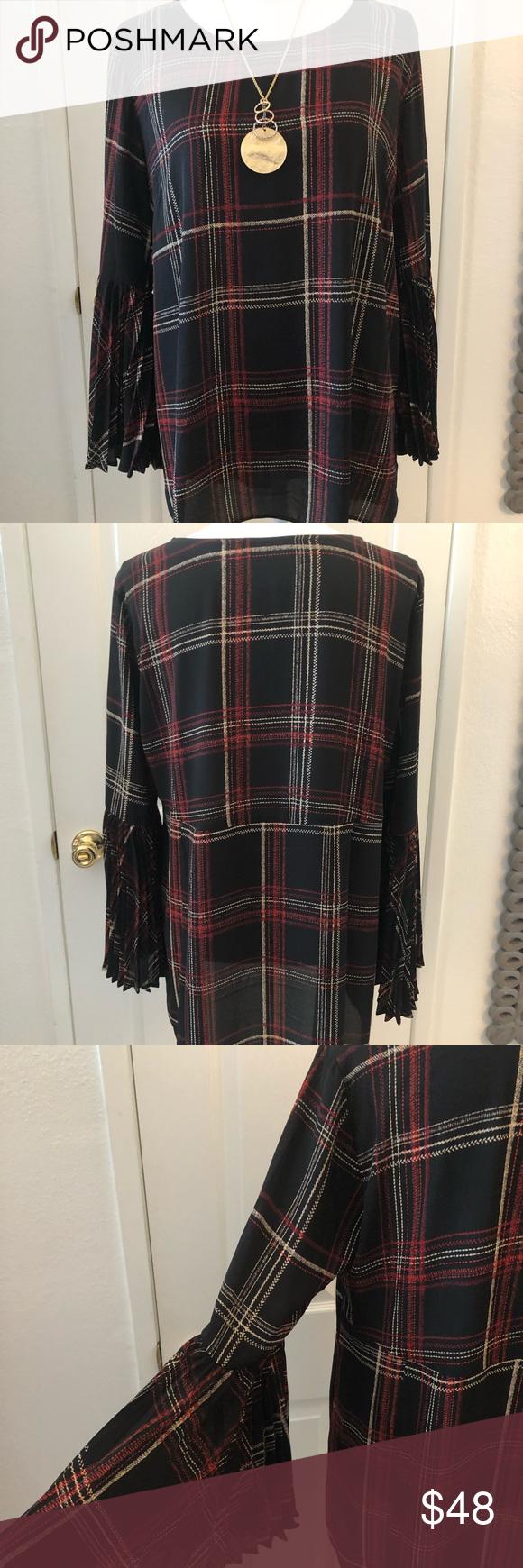 Susan Graver red & black plaid blouse Susan Graver red & black plaid blouse; ple…