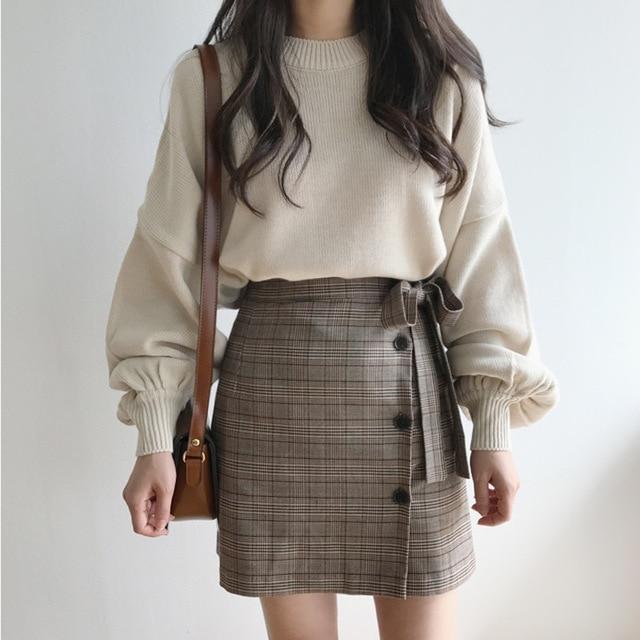 Sweater Women 2018 Autumn Winter Korean Style Vintage Lantern Sleeve Knitted Pulloverwwetoro