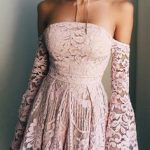 Sweet Pink Lace Off The Shoulder Homecoming Dress,Long Sleeves Mini Homecoming Graduation Dress,Strapless Short Prom Party Dress for Teens