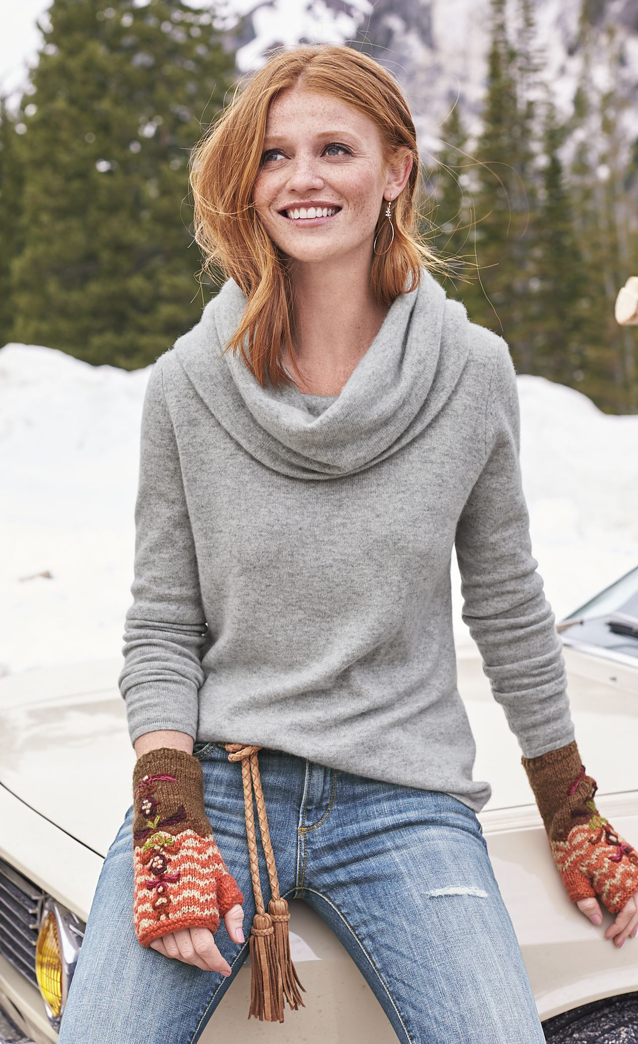 Sweet Sentiments Cowl-Neck – Cashmere cowl-neck sweater.