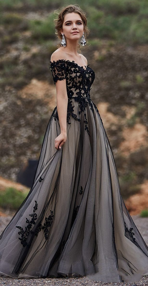 Sweetheart Short Sleeves Prom Dress,A-Line Tulle Appliques Evening Dress