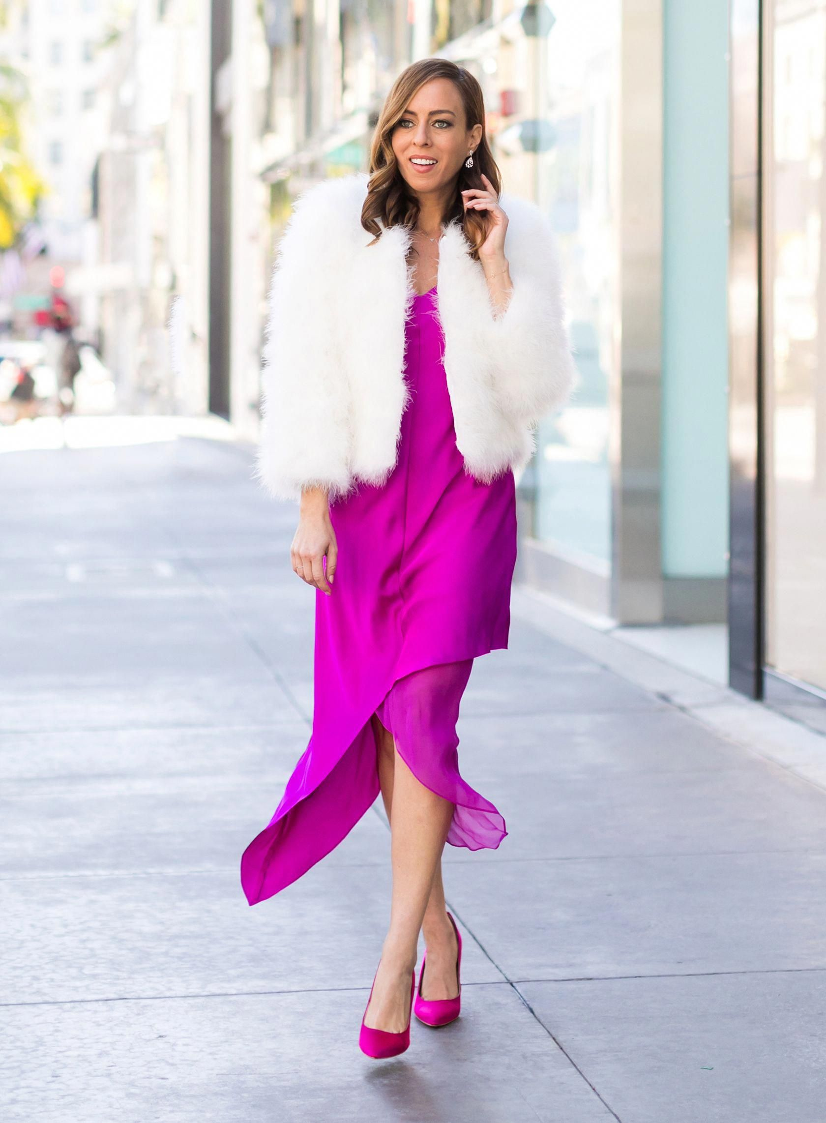 Sydne Style shows holiday cocktail party outfit ideas with bright dresses #pink …