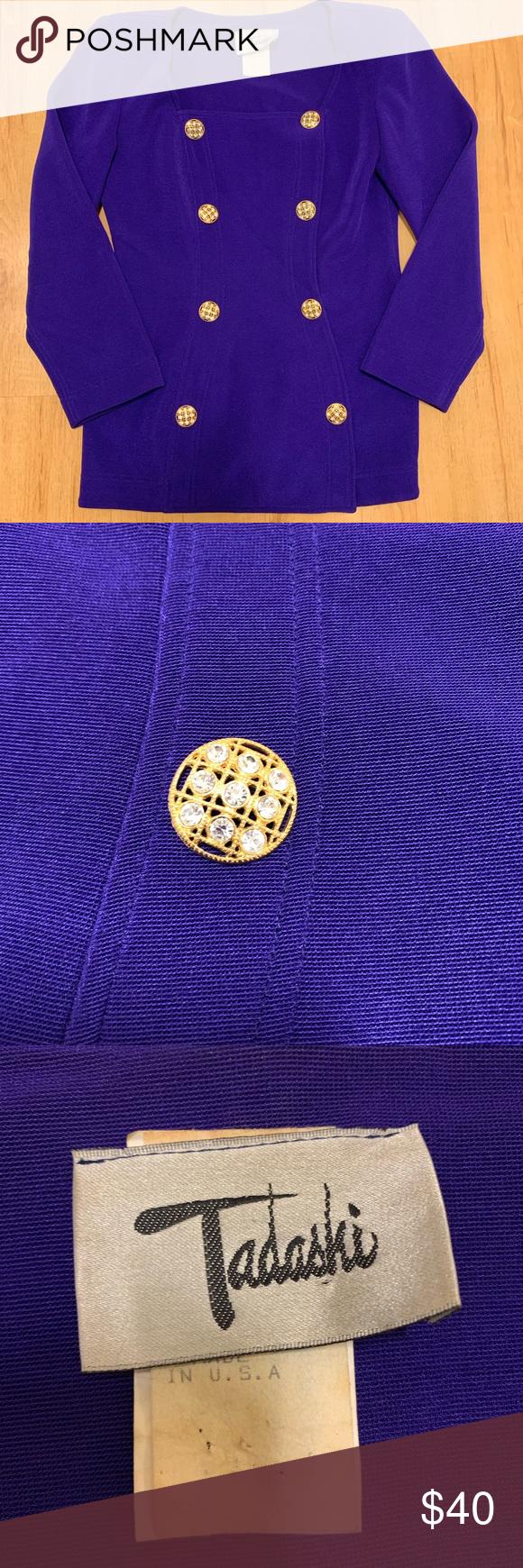 TADASHI vtg. blazer top purple rhinestone buttons Tadashi vintage luxurious spec…