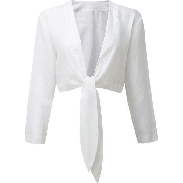 TIE WHITE LINEN BLOUSE found on Polyvore featuring polyvore, women's fashion, cl…
