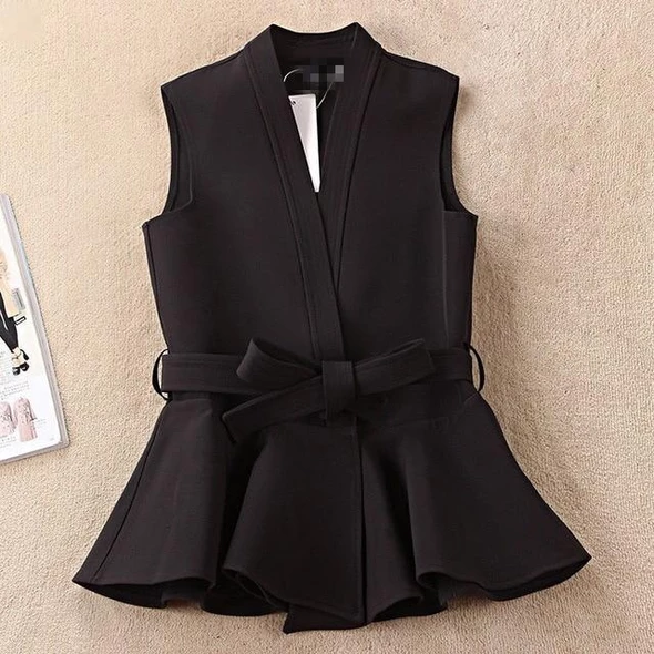 TWOTWINSTYLE Lace Up Waistcoat For Women Sleeveless V Neck High Waist Bow Draped Vest 2018 Spring Summer Fashion New Clothing